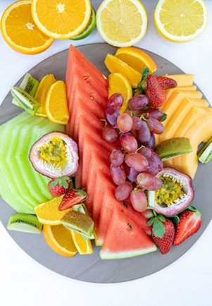 Top down image of a Fresh fruit platter