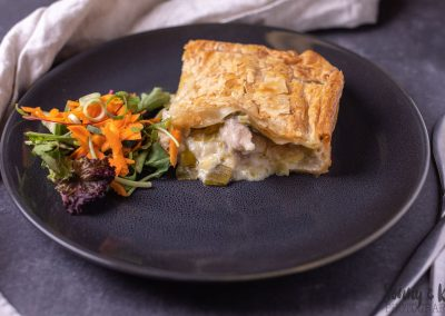 Meal Delivery - Slice of Chicken and Leek Pie and side salad