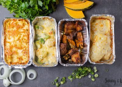 Sides for your Meal Delivery - Sides of Mac and Cheese, Broccoli & Cauliflower bake, roast veggies and potato bake