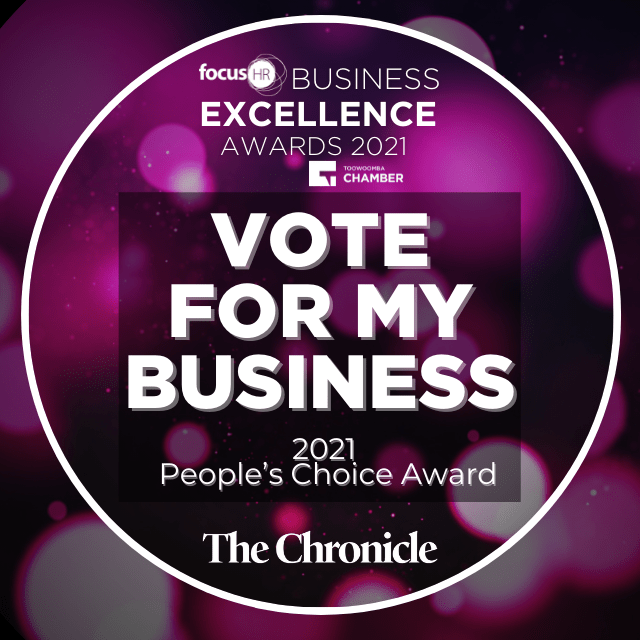 Logo that says 'Vote For My Business' in a circle in white writing against a purple background